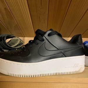 Nike Black Leather Platform Sneakers